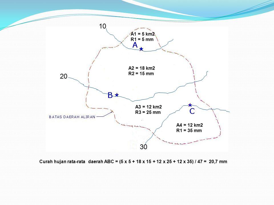 10 20 30 A1 = 5 km2 R1 = 5 mm A2 = 18 km2 R2 = 15 mm A3 = 12 km2