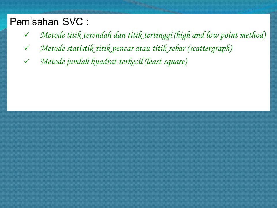 Pemisahan SVC : Metode titik terendah dan titik tertinggi (high and low point method) Metode statistik titik pencar atau titik sebar (scattergraph)