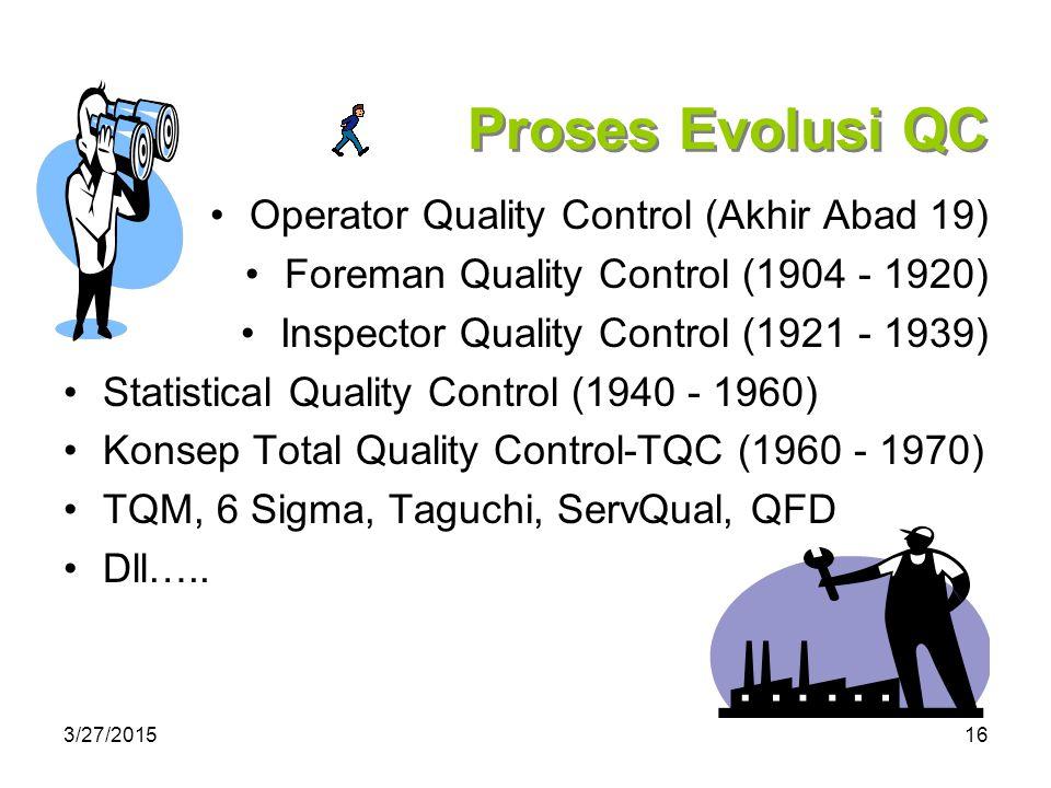 Proses Evolusi QC Operator Quality Control (Akhir Abad 19)