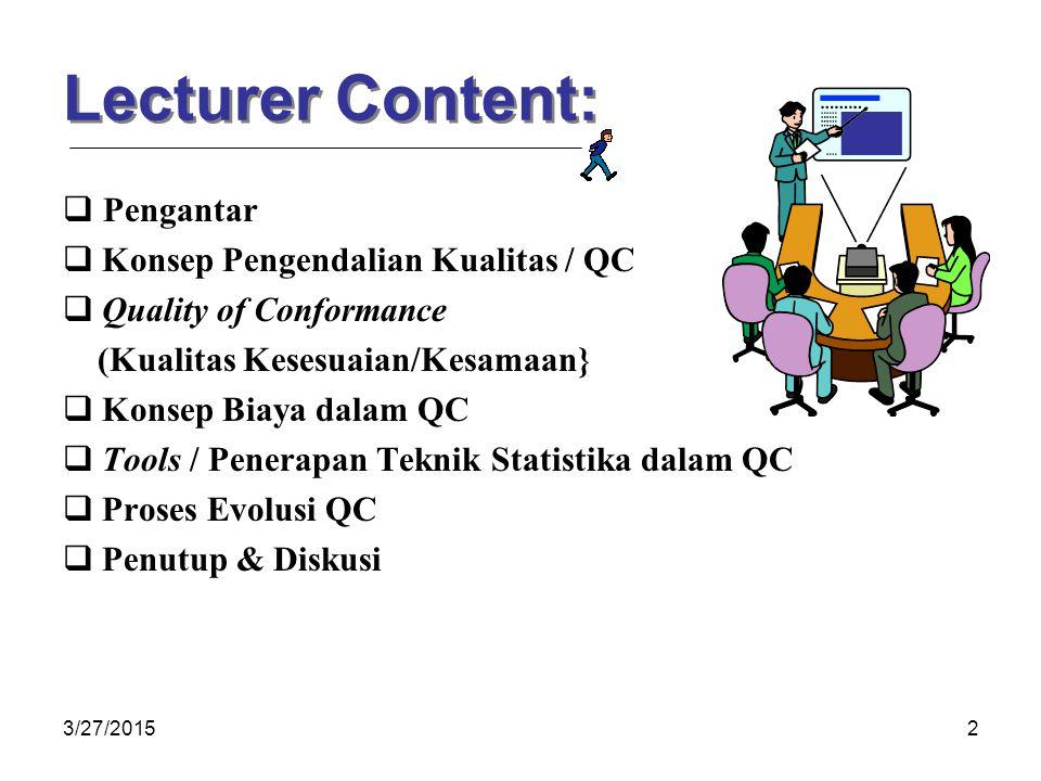 Lecturer Content:  Pengantar Konsep Pengendalian Kualitas / QC