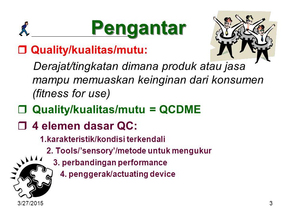 Pengantar  Quality/kualitas/mutu: