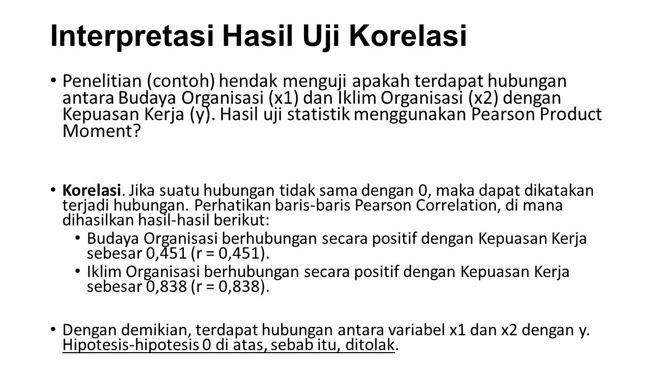 Interpretasi Hasil Uji Korelasi