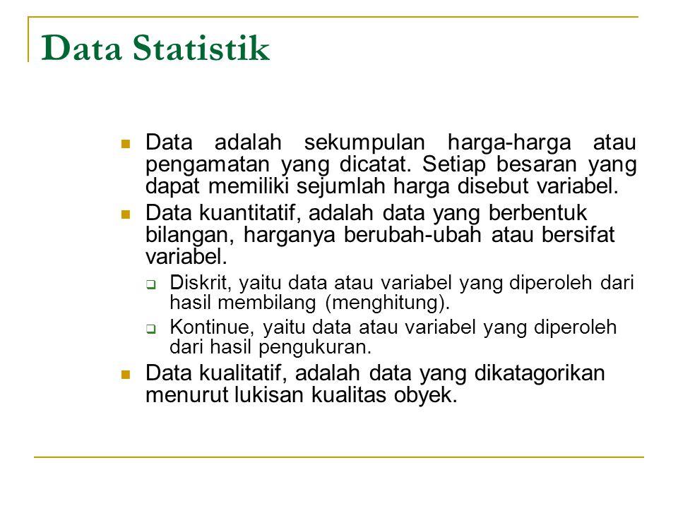 Data Statistik Data adalah sekumpulan harga-harga atau pengamatan yang dicatat. Setiap besaran yang dapat memiliki sejumlah harga disebut variabel.