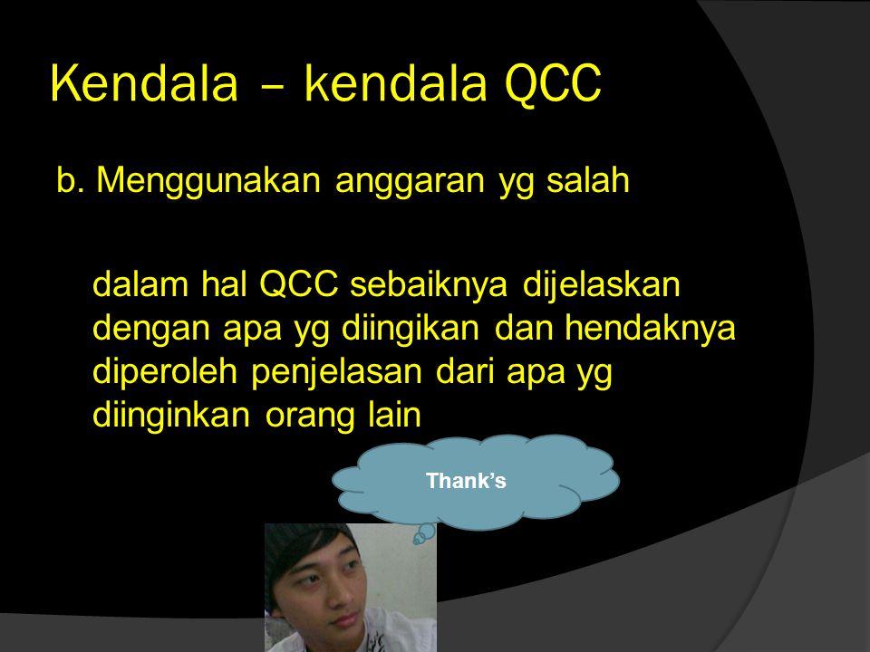 Kendala – kendala QCC b. Menggunakan anggaran yg salah