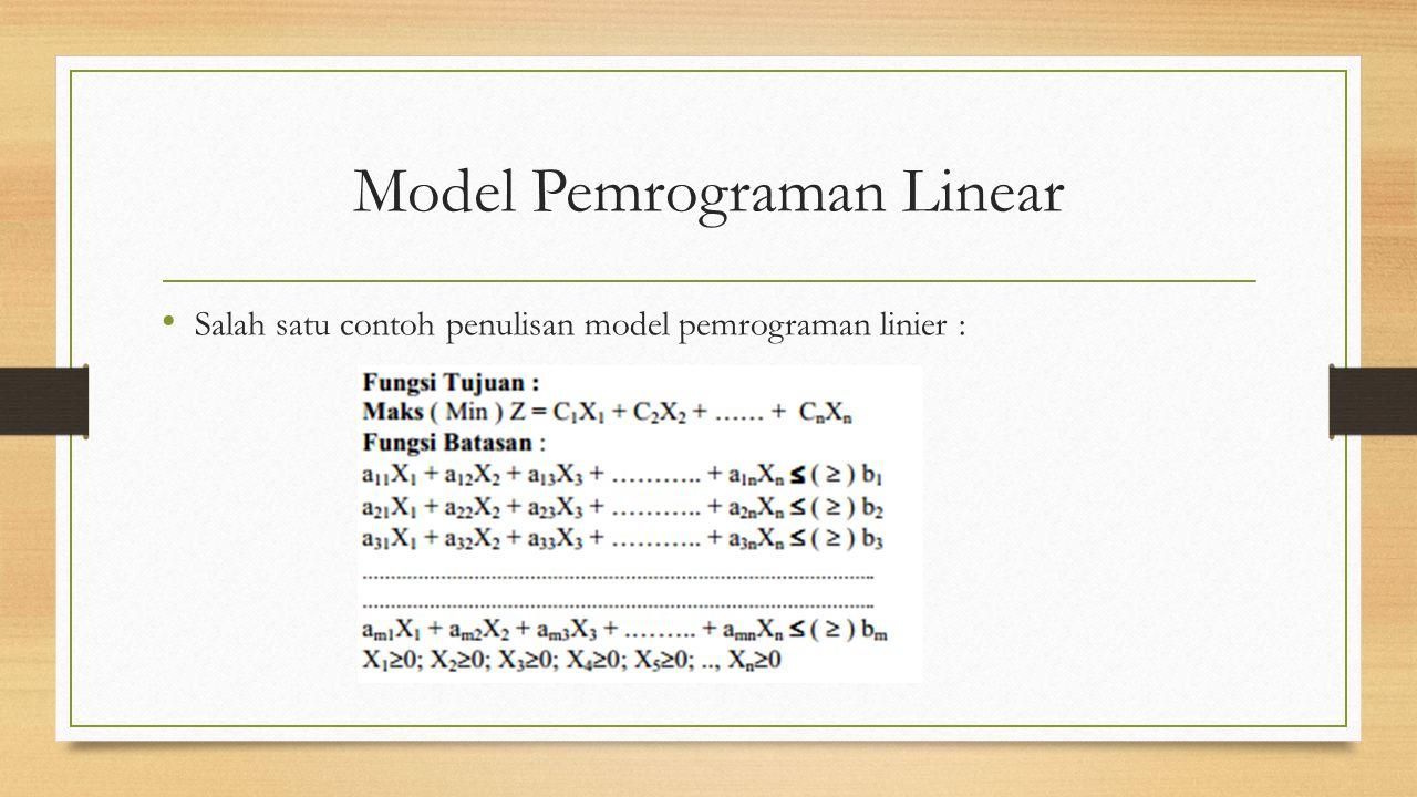 Model Pemrograman Linear