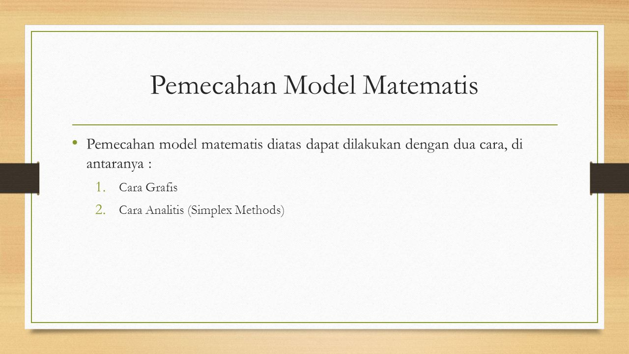 Pemecahan Model Matematis