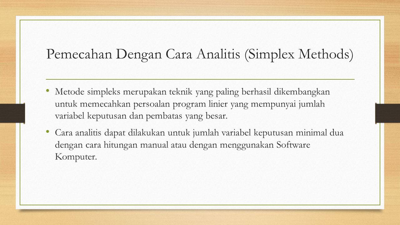 Pemecahan Dengan Cara Analitis (Simplex Methods)