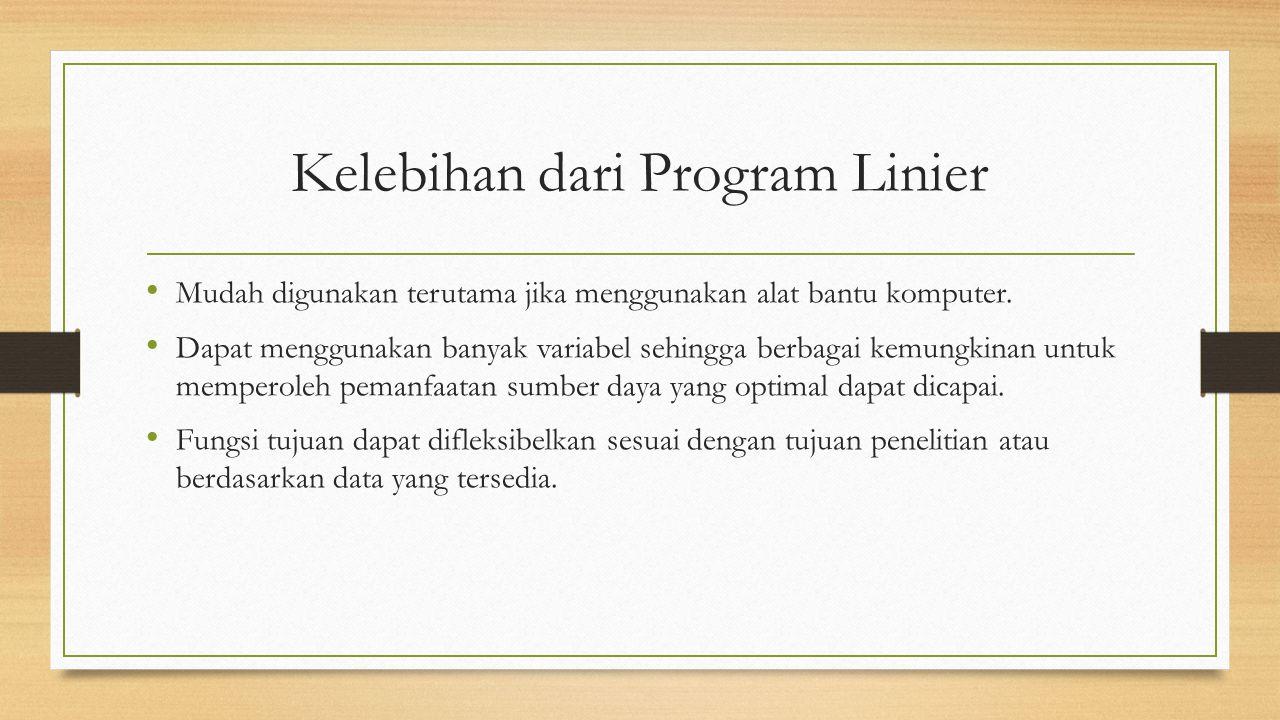 Kelebihan dari Program Linier