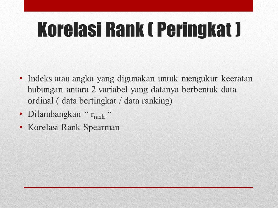 Korelasi Rank ( Peringkat )