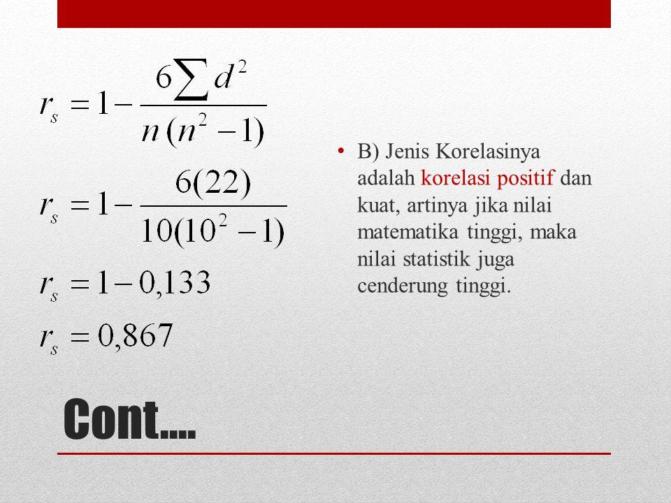 B) Jenis Korelasinya adalah korelasi positif dan kuat, artinya jika nilai matematika tinggi, maka nilai statistik juga cenderung tinggi.