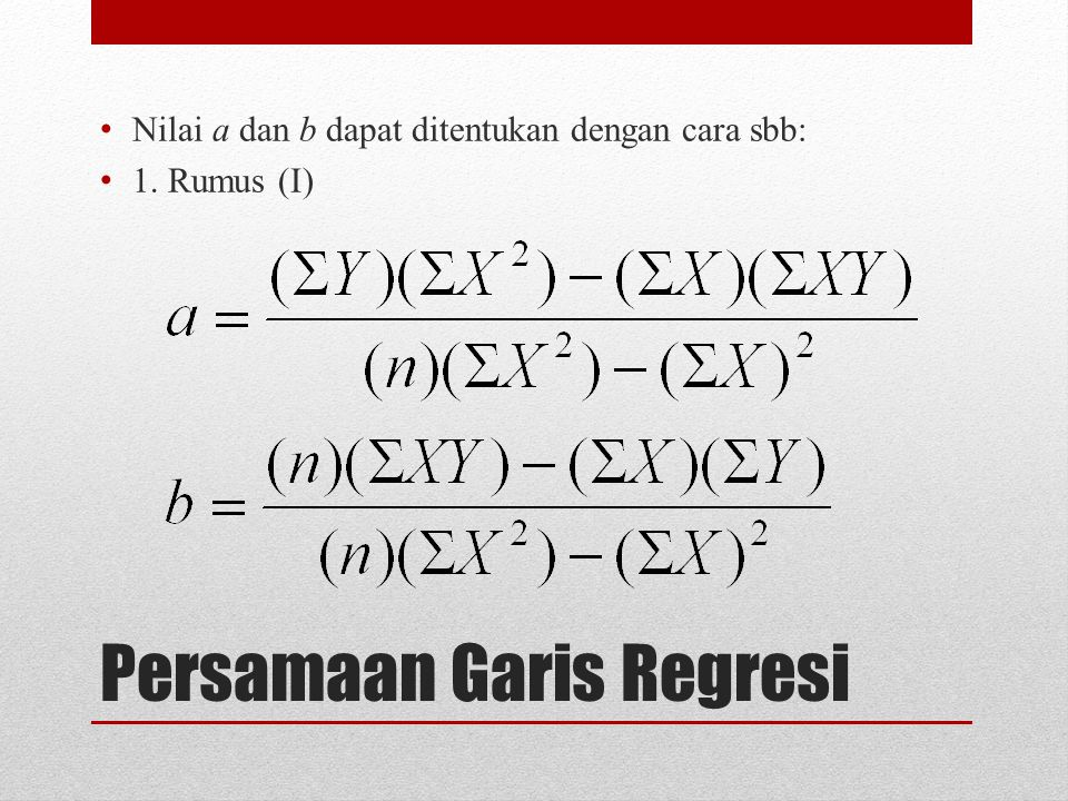 Persamaan Garis Regresi