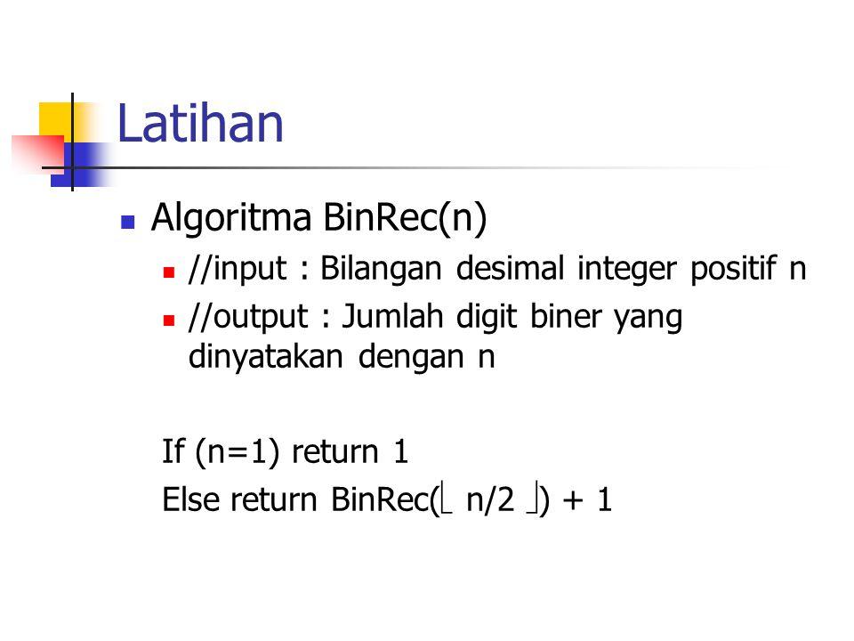 Latihan Algoritma BinRec(n)