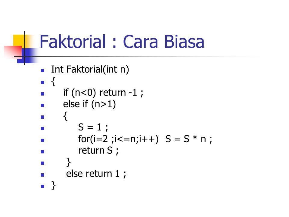 Faktorial : Cara Biasa Int Faktorial(int n) { if (n<0) return -1 ;
