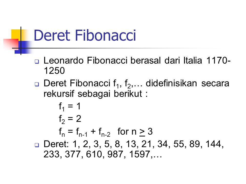 Deret Fibonacci Leonardo Fibonacci berasal dari Italia 1170-1250