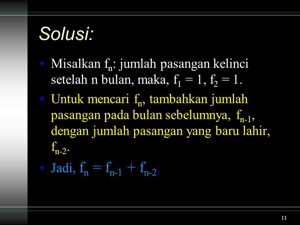Solusi: Misalkan fn: jumlah pasangan kelinci setelah n bulan, maka, f1 = 1, f2 = 1.