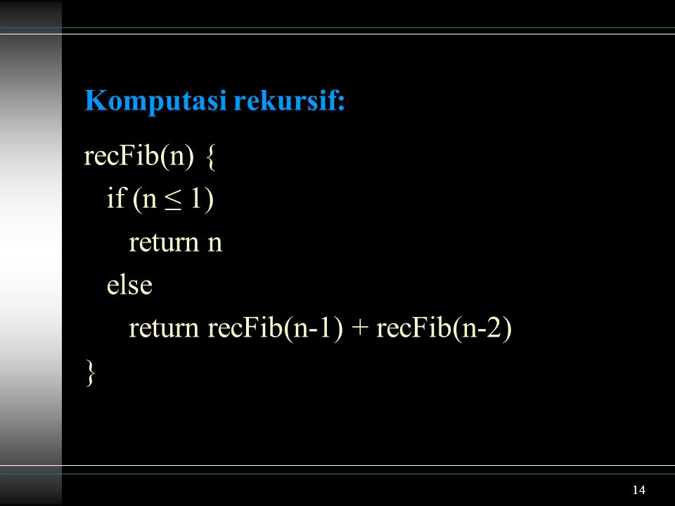 Komputasi rekursif: recFib(n) { if (n ≤ 1) return n else return recFib(n-1) + recFib(n-2) }