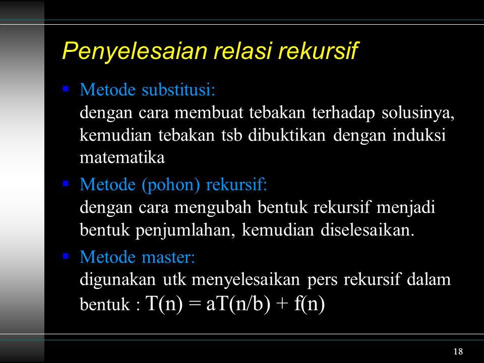 Penyelesaian relasi rekursif