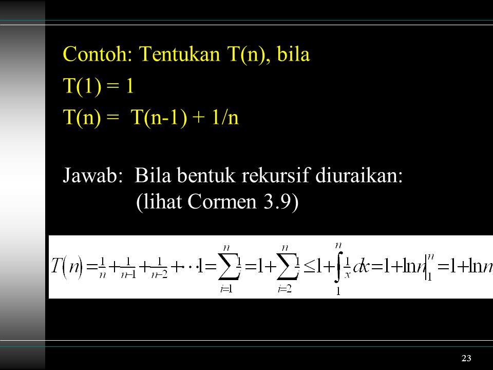 Contoh: Tentukan T(n), bila