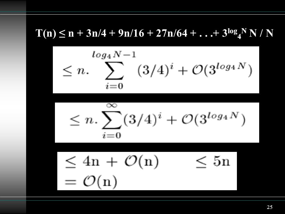 T(n) ≤ n + 3n/4 + 9n/16 + 27n/64 + . . .+ 3log4N N / N