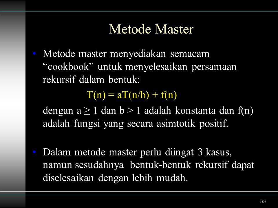 Metode Master Metode master menyediakan semacam cookbook untuk menyelesaikan persamaan rekursif dalam bentuk: