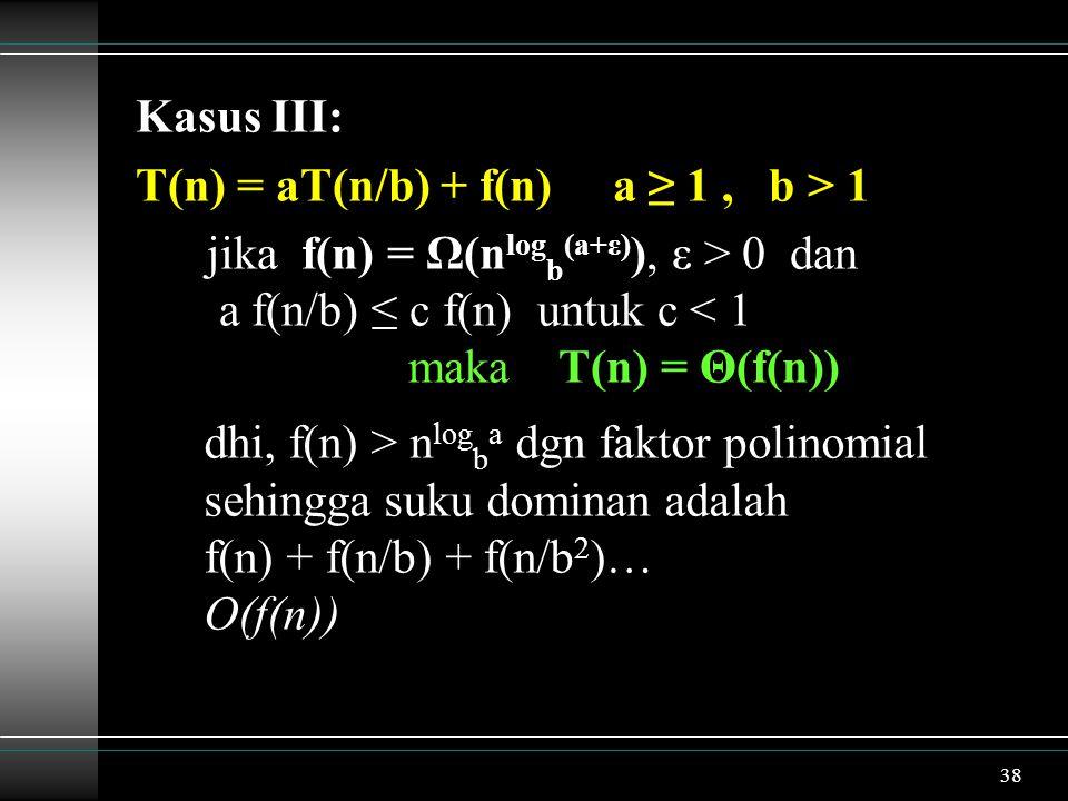 Kasus III: T(n) = aT(n/b) + f(n) a ≥ 1 , b > 1.