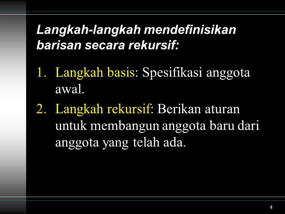 Langkah-langkah mendefinisikan barisan secara rekursif: