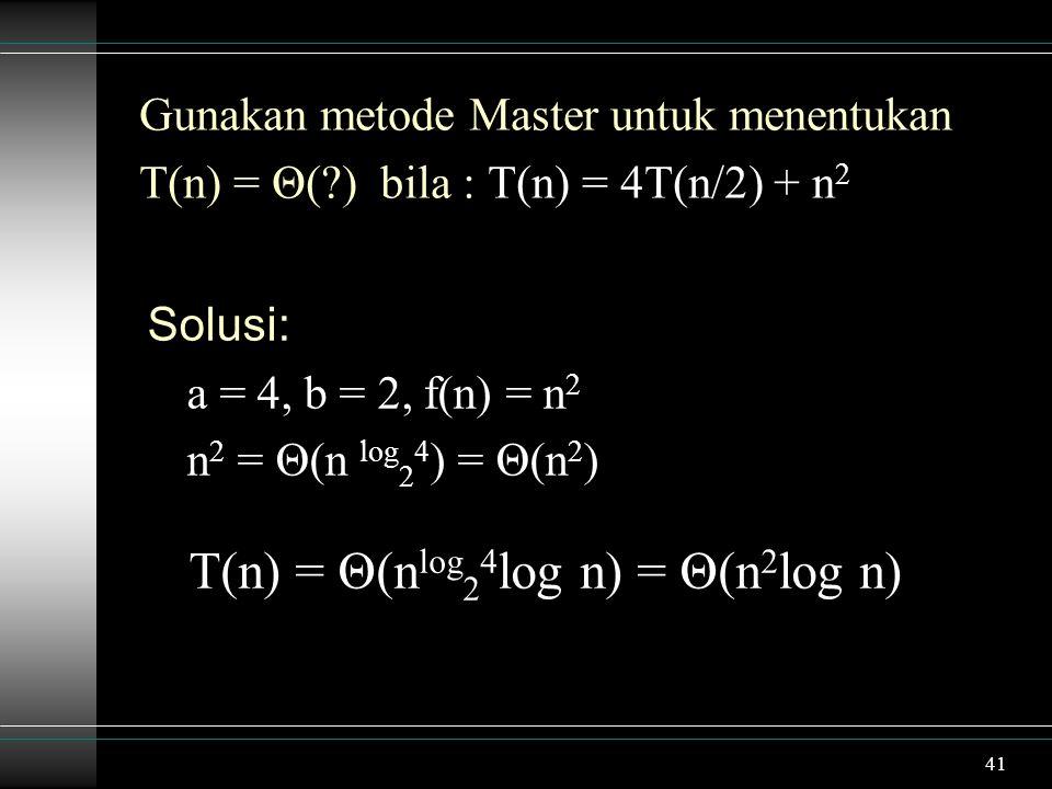 T(n) = Θ(nlog24log n) = Θ(n2log n)