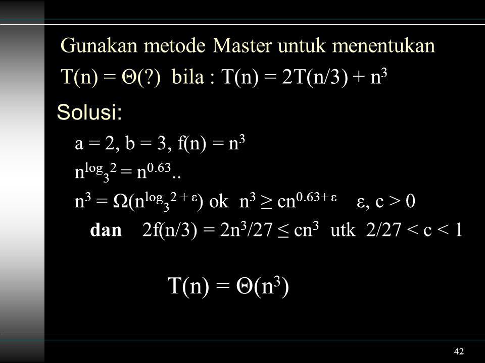 T(n) = Θ(n3) Gunakan metode Master untuk menentukan