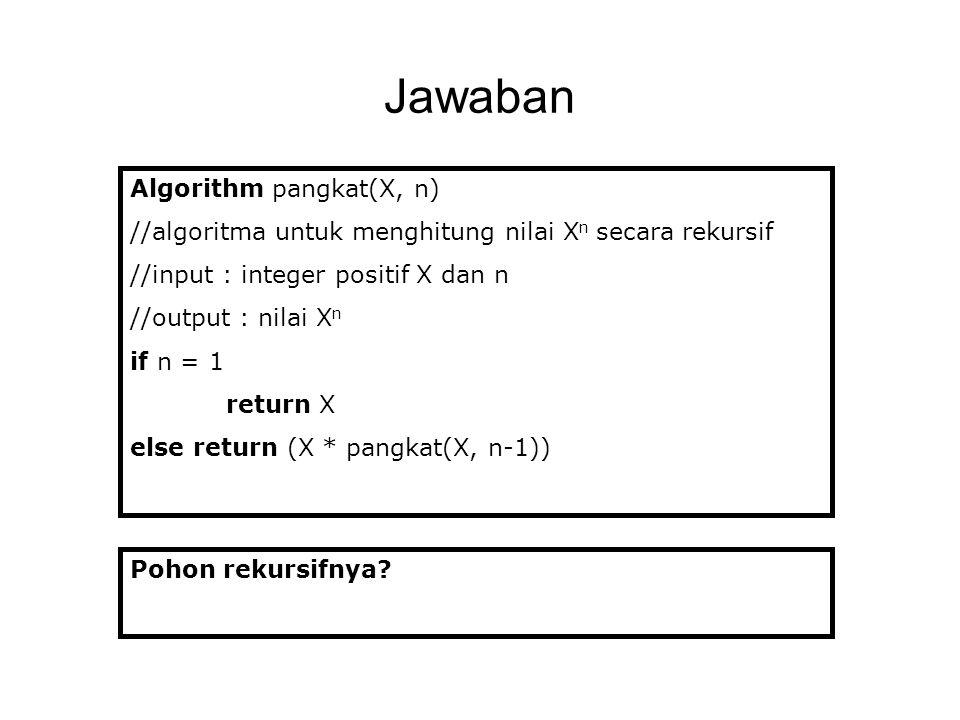 Jawaban Algorithm pangkat(X, n)