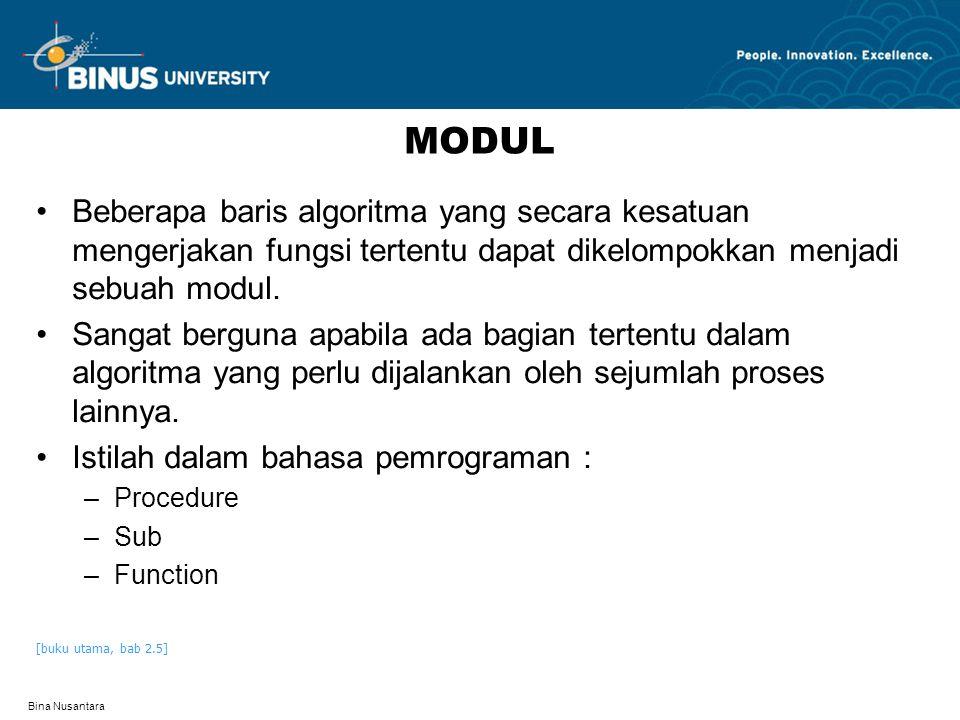 MODUL Beberapa baris algoritma yang secara kesatuan mengerjakan fungsi tertentu dapat dikelompokkan menjadi sebuah modul.
