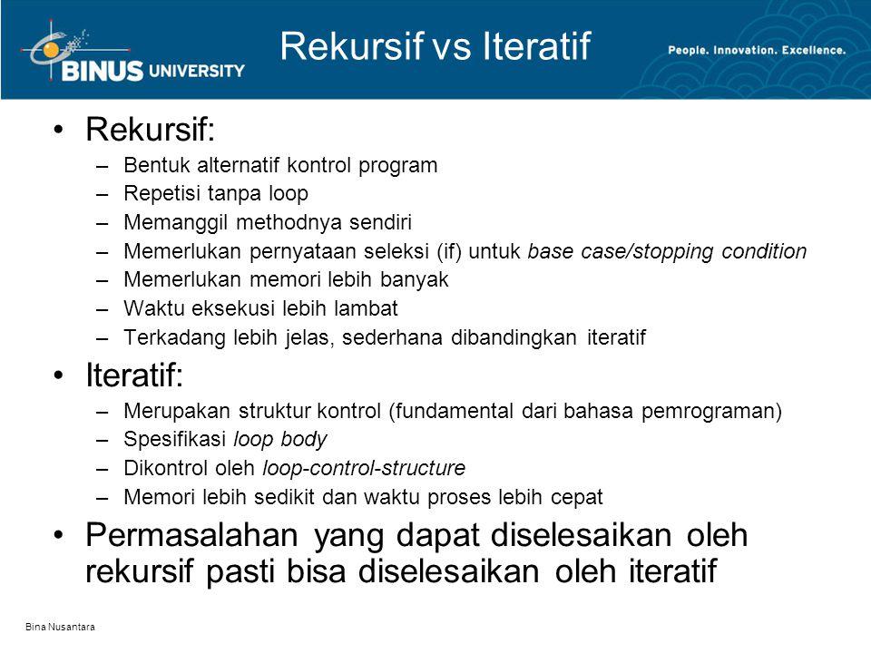 Rekursif vs Iteratif Rekursif: Iteratif: