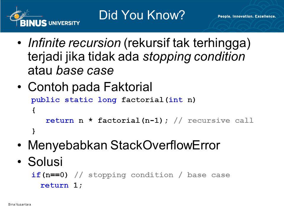 Menyebabkan StackOverflowError Solusi