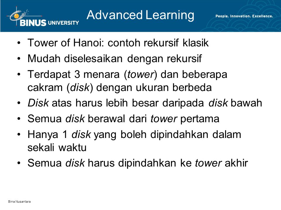 Advanced Learning Tower of Hanoi: contoh rekursif klasik