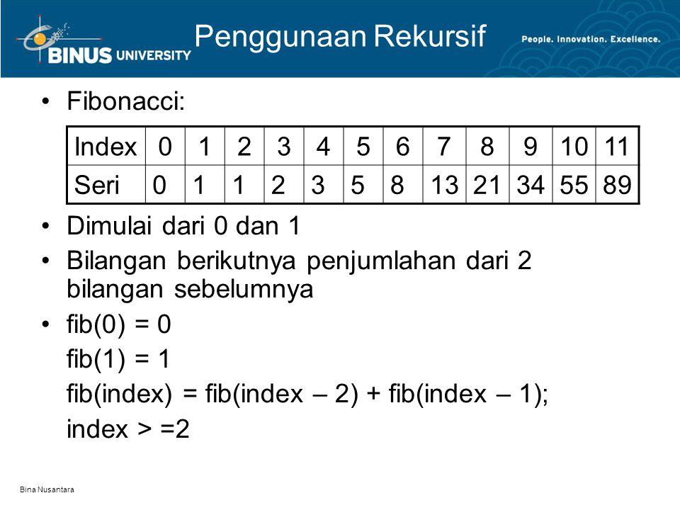 Penggunaan Rekursif Fibonacci: Dimulai dari 0 dan 1