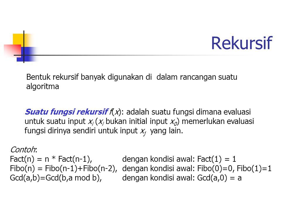Rekursif Bentuk rekursif banyak digunakan di dalam rancangan suatu algoritma.