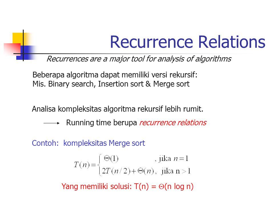Recurrence Relations Recurrences are a major tool for analysis of algorithms. Beberapa algoritma dapat memiliki versi rekursif: