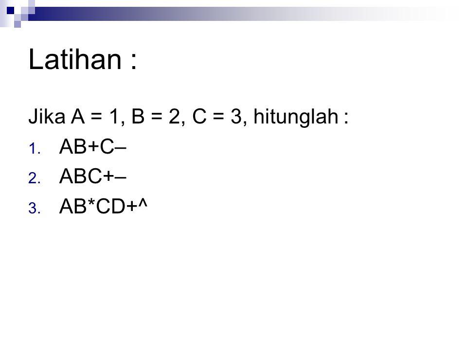 Latihan : Jika A = 1, B = 2, C = 3, hitunglah : AB+C– ABC+– AB*CD+^