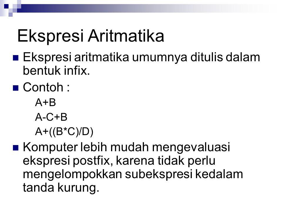 Ekspresi Aritmatika Ekspresi aritmatika umumnya ditulis dalam bentuk infix. Contoh : A+B. A-C+B.