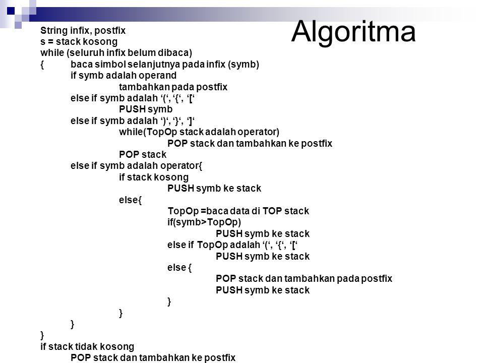 Algoritma s = stack kosong while (seluruh infix belum dibaca)