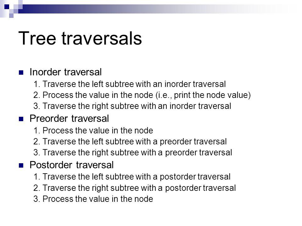 Tree traversals Inorder traversal Preorder traversal