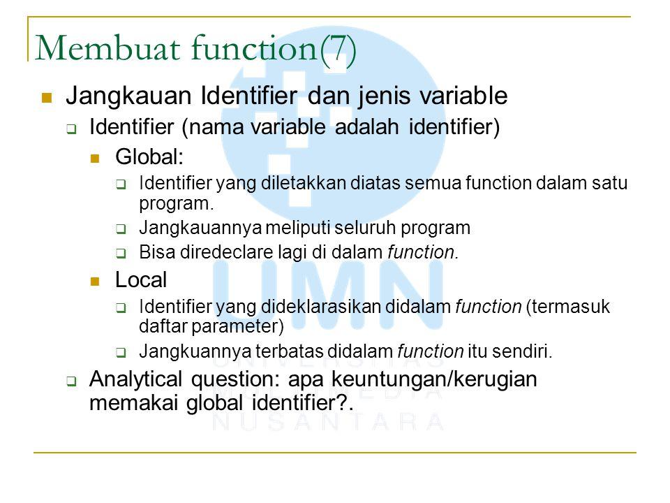 Membuat function(7) Jangkauan Identifier dan jenis variable