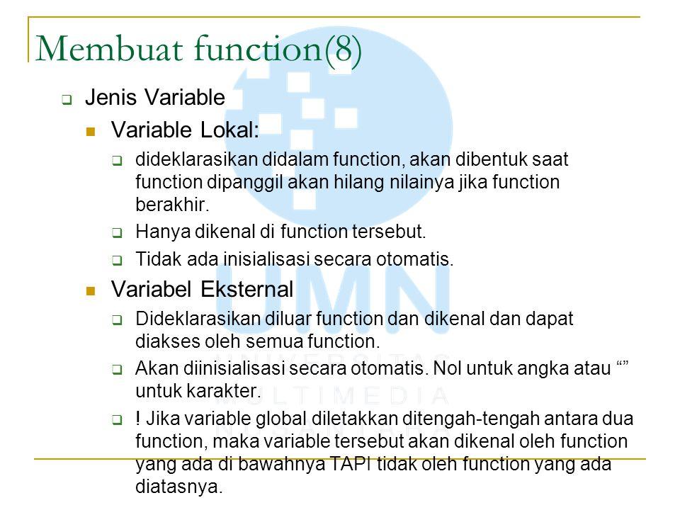 Membuat function(8) Jenis Variable Variable Lokal: Variabel Eksternal