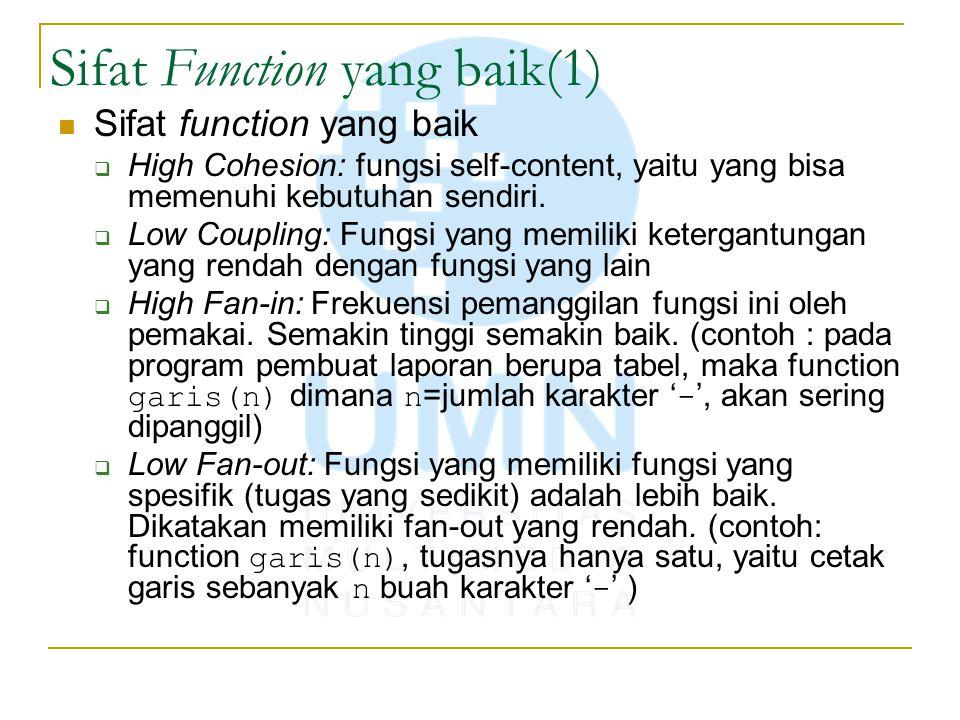 Sifat Function yang baik(1)