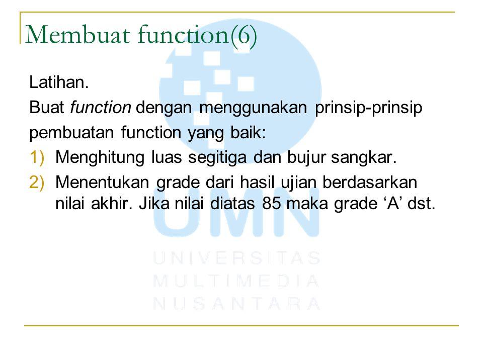 Membuat function(6) Latihan.