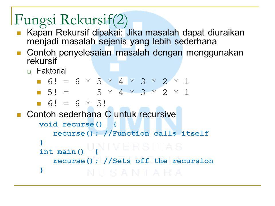 Fungsi Rekursif(2) Kapan Rekursif dipakai: Jika masalah dapat diuraikan menjadi masalah sejenis yang lebih sederhana.