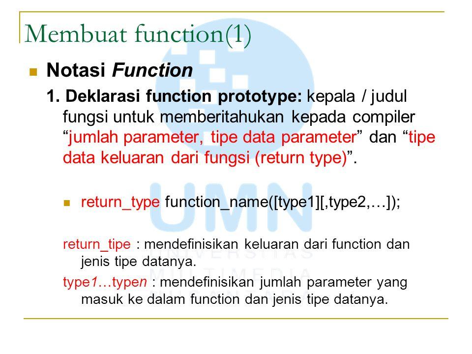 Membuat function(1) Notasi Function