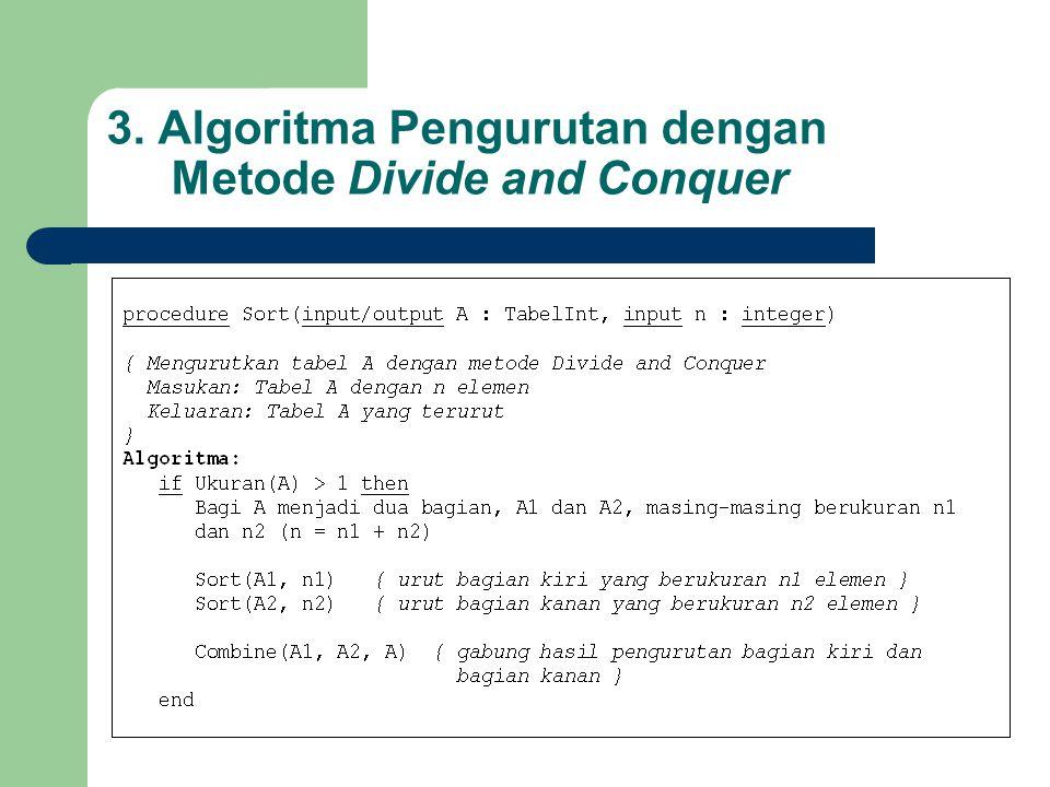 3. Algoritma Pengurutan dengan Metode Divide and Conquer