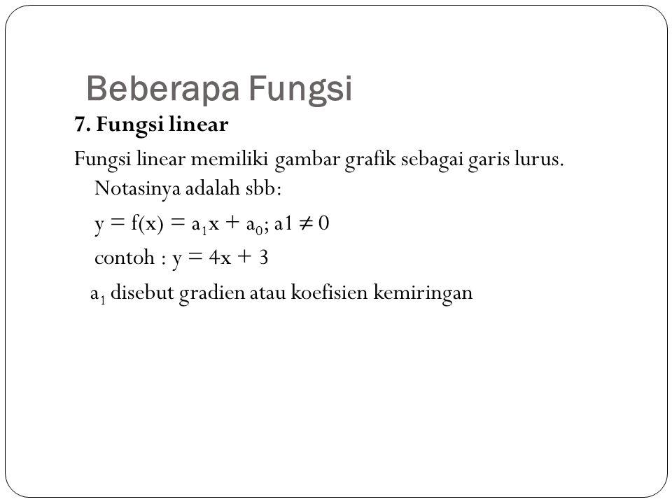 Beberapa Fungsi 7. Fungsi linear