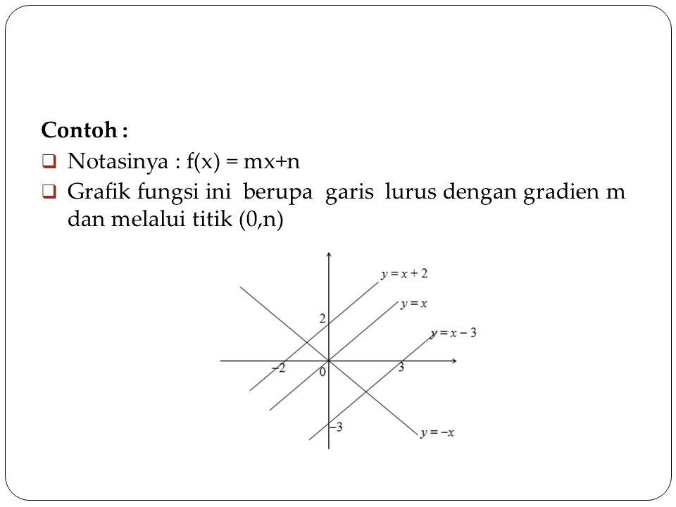 Contoh : Notasinya : f(x) = mx+n.