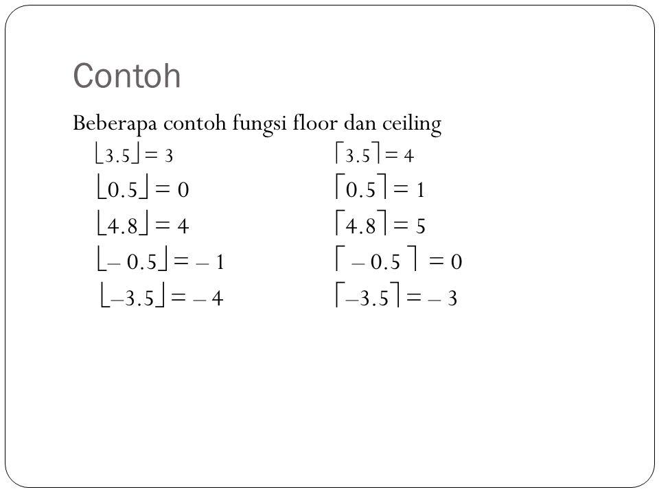 Contoh Beberapa contoh fungsi floor dan ceiling 0.5 = 0 0.5 = 1
